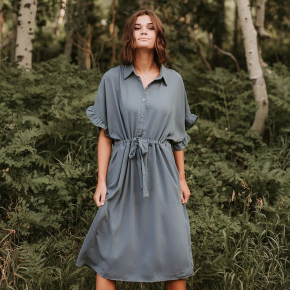 a953b4ca Piper and Scoot Dresses | Dwight Button Collared Dress In Slate ...